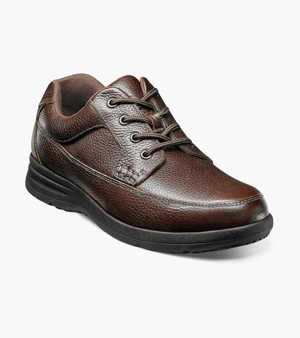 Men S Casual Shoes Brown Tumbled Moc Toe Oxford Nunn