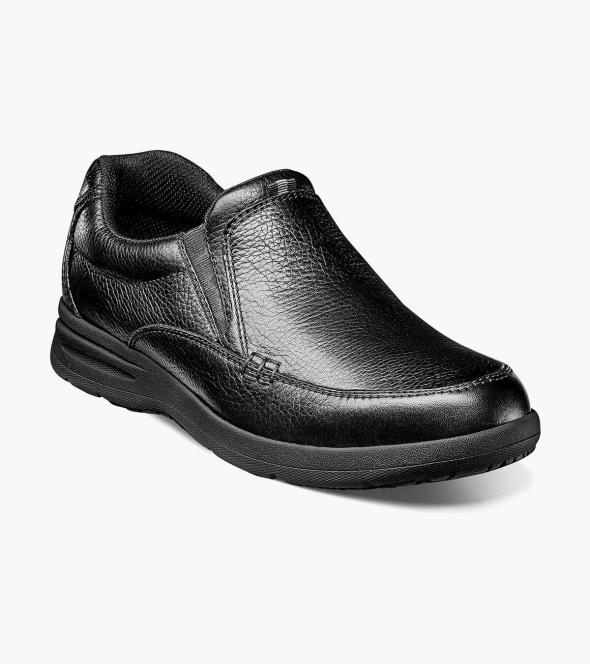 Men S Casual Shoes Black Tumbled Moc Toe Slip On Nunn