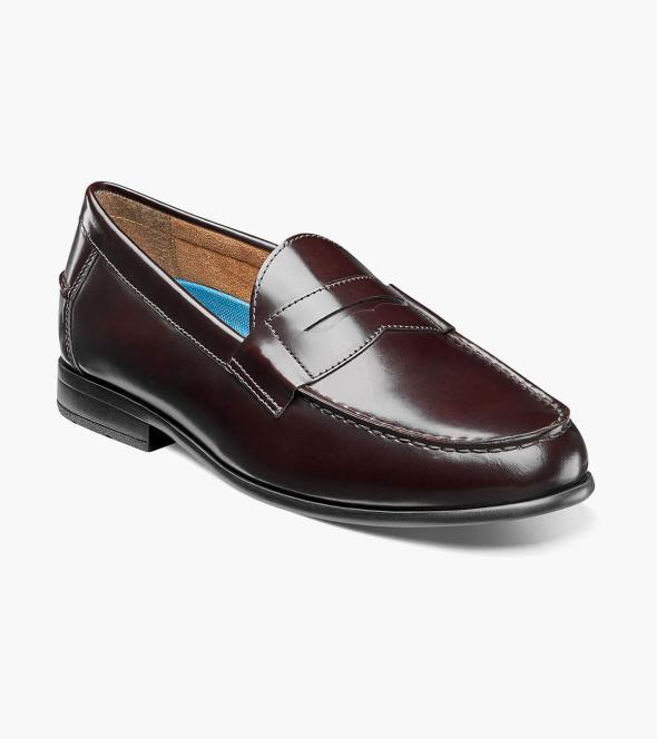 Men S Dress Shoes Burgundy Moc Toe Penny Loafer Nunn