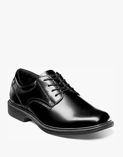 The featured product is the Baker Street Plain Toe Oxford in Black.