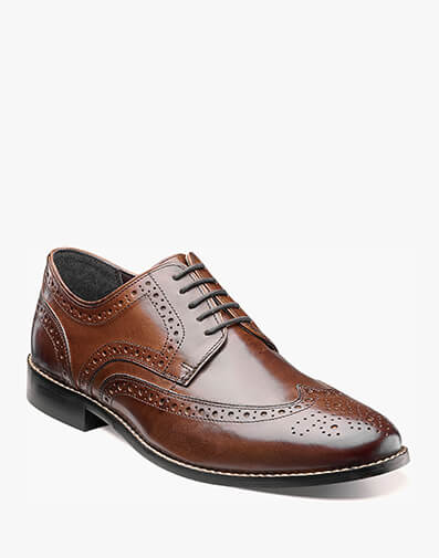 The featured product is the Nelson Wingtip Oxford in Brown.