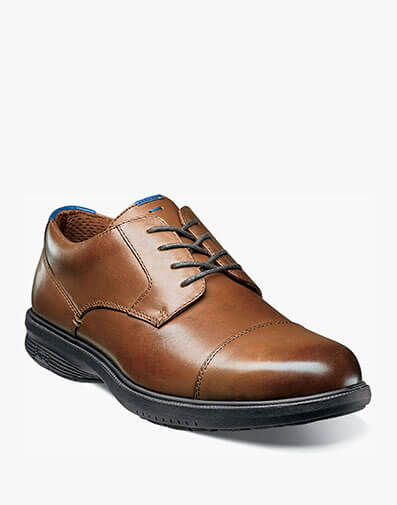 The featured product is the Melvin Street Cap Toe Oxford in Tan.
