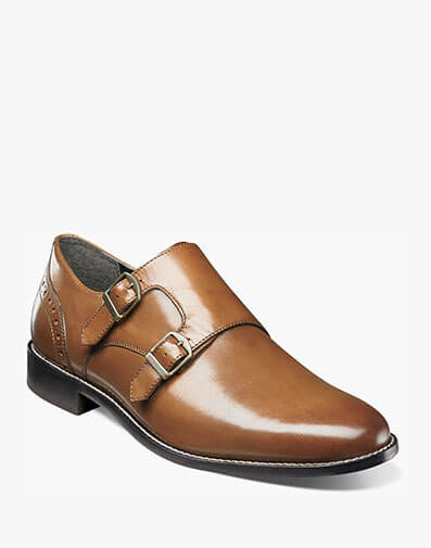 Norway Plain Toe Double Monk Strap in Cognac for $90.00