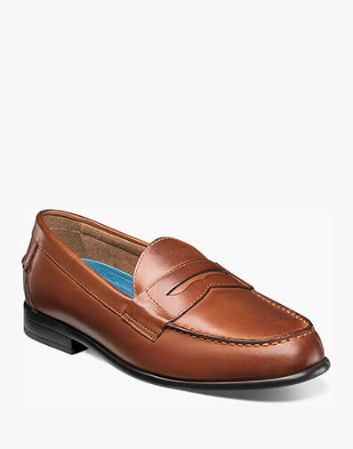 The featured product is the Drexel Moc Toe Penny Loafer in Cognac.