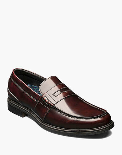 Lincoln Moc Toe Penny Loafer in Burgundy Multi for $85.00